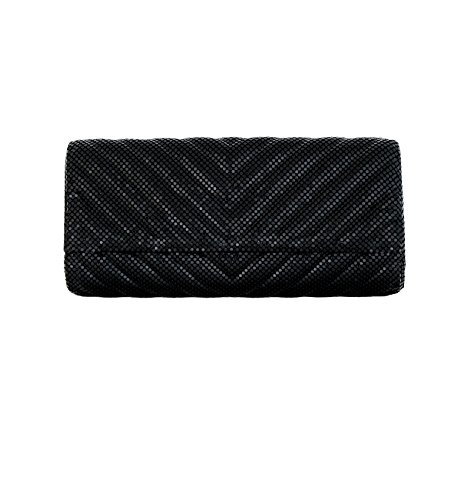 Whiting & Davis Quilted Chevron 1-5858 Evening Bag,Black,One Size by Whiting & Davis