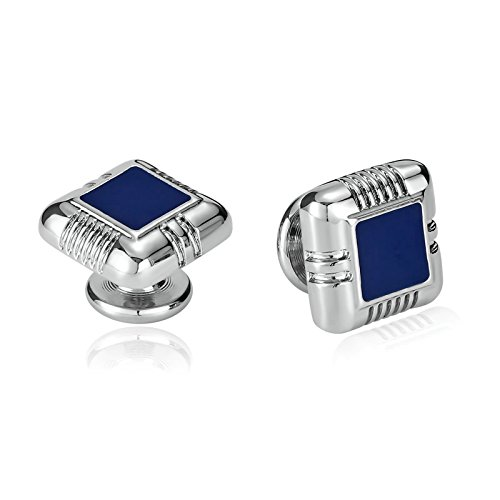 (Daesar Jewelry Stainless Steel Enamel Square Shaped Silver Blue Cufflinks for Mens)