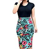 Vintage Womens Bodycon Pencil Dresses Short Sleeve Floral Printed Bandage Midi Dress Elegant Party Knee Length Dress Black