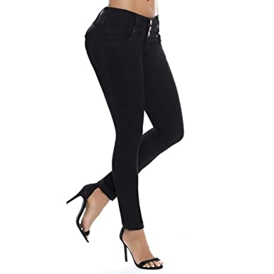 124e178ff21d iTLOTL Women Middle Waisted Skinny Jeans Stretch Slim Pants Calf Length  Pencil Pants at Amazon Women's Clothing store: