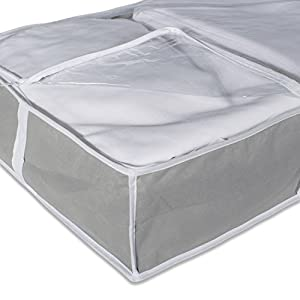 DII Breathable, Under the Bed Closet Soft Storage Bag Clear Viewing Window & Zipper Closure Clothing, Linens, Shoes (Chest Size - 40 x 18 x 6) Gray - Set of 2