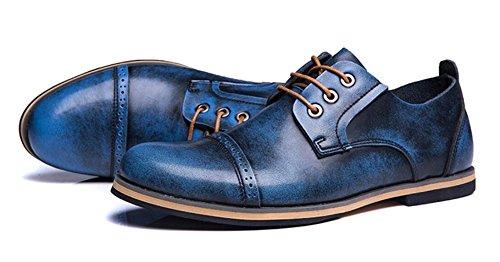 Jiye Mens Scarpe Oxford In Vera Pelle Blu