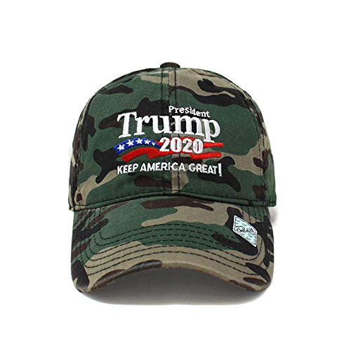 Trump 2020 Keep America Great Campaign Embroidered USA Hat | Baseball Bucket Trucker Cap (Cotton Wood Camo)