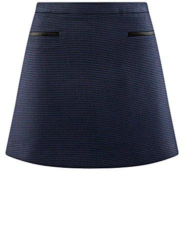 Ultra Jupe 6e4cg en oodji Bleu avec Similicuir Finition Trapze Femme HEnZdq