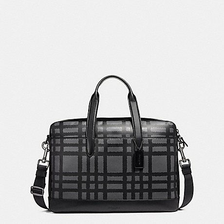 COACH HAMILTON BAG WITH WILD PLAID PRINT F11187, BLACK ANTIQUE NICKEL/GRAPHITE/BLACK PLAID by Coach