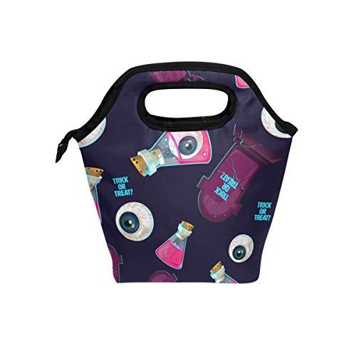 My Little Nest Insulated Cooler Tote Lunch Bag Halloween Eyeballs Bottles Work Picnic Food Organizer Lunchbox for Women Men Kids