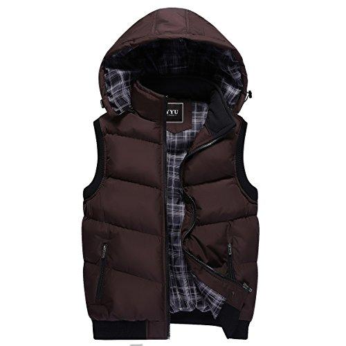 invierno con chaqueta sin capucha de Ahatech chaleco para hombres desmontable mangas SEgWwxn