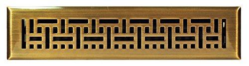 Brass Plated Steel Floor Register - Accord AMFRABB214 Floor Register with Wicker Design, 2-Inch x 14-Inch(Duct Opening Measurements), Antique Brass