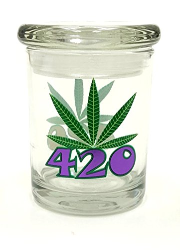 Purple 420 Pop Top Jar Glass Medical Jar Herb Storage Container (3oz Jar)