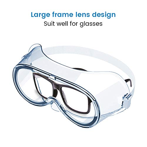 Magicare Anti-Fog Protective Safety Goggles,Wide-Vision Soft Lightweight Eyewear Clear Lens Adjustable Eye Protection for Classroom Home & Workplace Prevent