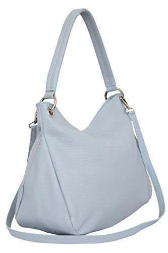 Ambra Moda GL002 - Bolso de cuero auténtico para mujer en varios colores azul claro