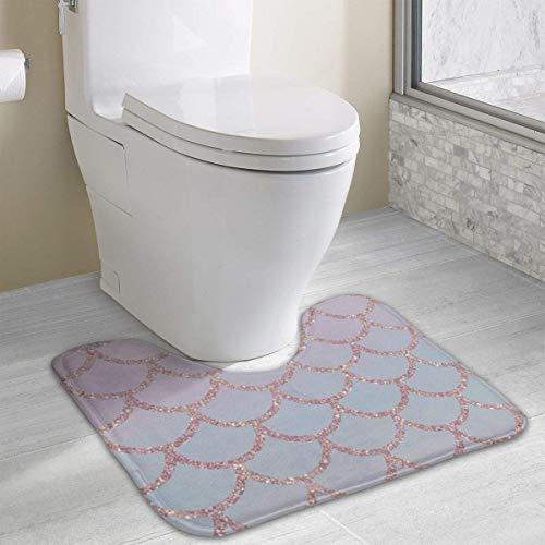 casually Mermaid Scale Cute Bath Mat Toilet Carpet Doormats Floor Mats for Bathroom Toilet 19.2″x15.7″