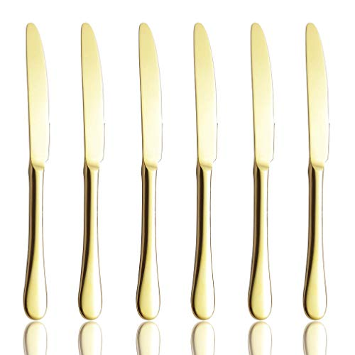 Dinner Knives Set of 6, Champagne Gold Flatware Replacement High Carbon Stainless Steel Heavy Duty Silverware Knife Bulk, 9-Inch Eating Utensils, 6-Piece Table Knives Mirror Finished, Dishwasher Safe - Gold Stainless Steel Knife