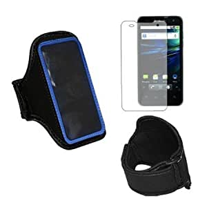 Bloutina Premium Blue Sport Armband + cLear Crystal Screen Protector for LG G2x / Optimus 2x P999
