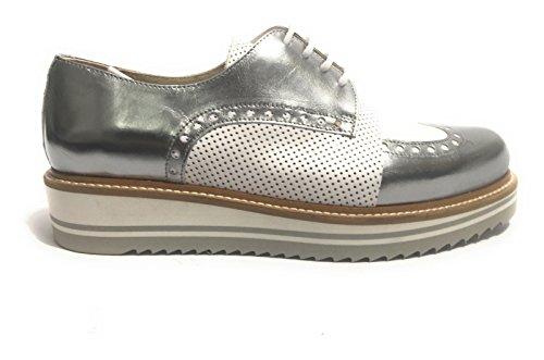 YOX By N. BARBATO - Zapatos de cordones de Piel para mujer SPECCHIO ACCIAIO / BIANCO 40