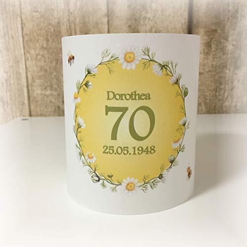 4er Set Tischlicht Tischlichter Blumen Bienen Runder Geburtstag 40