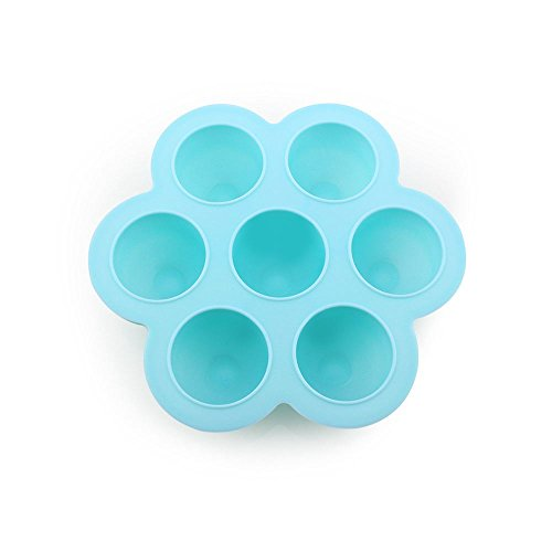(Nrpfell Baby Food Container Infant Flower Lattice Fruit Breast Milk Storage Box Safety Silicone Freezer Tray Crisper FEEL GOOD,Light blue)