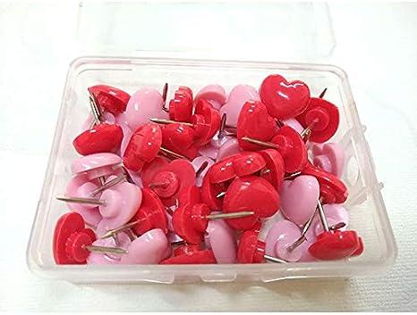 CAOLATOR.50 St/ück Pinnadeln Rot Herz Form Karte Stecknadeln Push Pins Rei/ßnagel Heftzwecken Polsterung N/ägel zum Markieren oder Fixieren Rosa