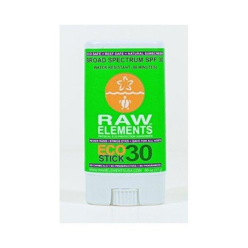 Eco Elements - Raw Elements: Eco Stick 30 Broad Spectrum, Water Restitant Sunscreen Stick, .6 oz