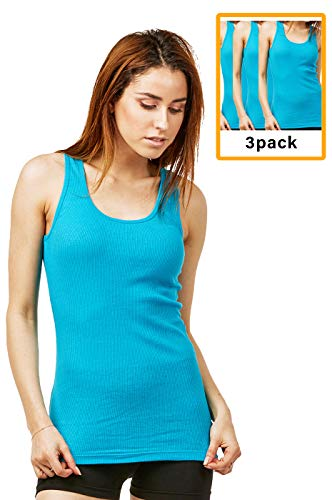 (Women's Cotton Ribbed Tank Top (3 Pack) (S, Aqua))