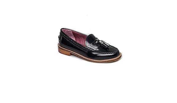 London Brogues - Mocasines de Piel para Mujer Negro Negro 36-41 EU, Color Negro, Talla 35.5: Amazon.es: Zapatos y complementos