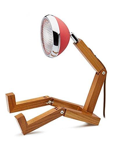 Mr. Wattson LED Tischlampe Holz Metall rot