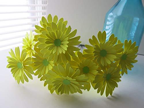 - One Dozen Neon Yellow Gerbera Daisy Bouquet, 3 Inch Paper Flowers on Stems, Lemon Gerber Daisies