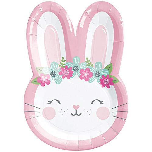 """Creative Converting Party Supplies, Bunny Party Shaped Paper Plates, Plate Dinner, Multicolor, 9"""", 8Ct"""
