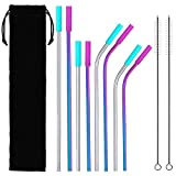 8-Pack Stainless Steel Metal Straws with 2 Cleaning Brush & Silicone Tips - 10.5''& 8.5'' Long Reusable Straws for 30oz/20oz Yeti Tumblers, Mugs, Mason Jars, Starbucks(Rainbow)