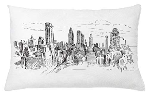 Ambesonne New York Throw Pillow Cushion Cover, Hand Drawn NYC Cityscape Tourism Travel Industrial Center Town Modern City Design, Decorative Accent Pillow Case, 26 W X 16 L Inches, Grey White