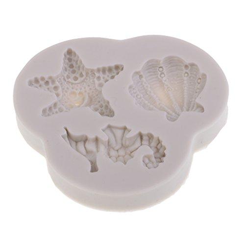 (MagiDeal Seahorses/Shells/Tarfish Liquid Silicone Molds For Fondant Cake Decorating)