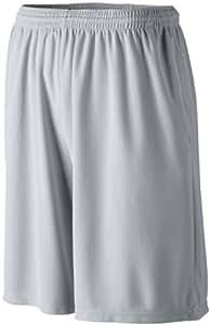 Augusta Sportswear MEN'S LONGER LENGTH WICKING SHORT W/ POCKETS M Silver Grey