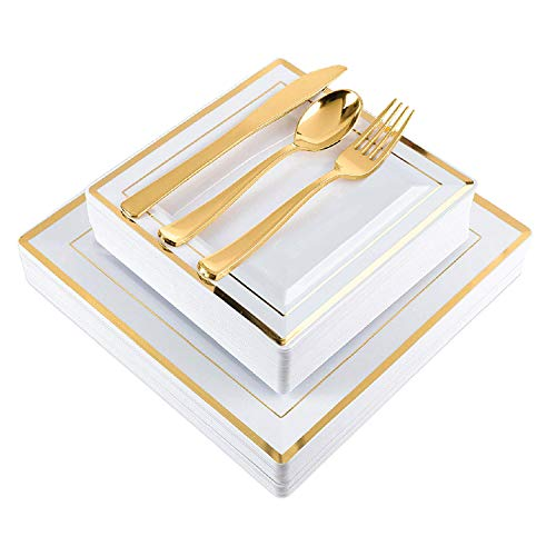 Elegant Plastic Plates with Gold Plastic Silverware - 125 Piece Square Plastic Party Plates and Cutlery for Wedding, Reception, Buffet - Service for 25 Guests Disposable Wedding Plates (Gold Square)