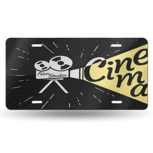 dsdsgog Impact Bumps Movie Theater,Movie Projector Sketch with Grunge Cinema Lettering on Black Backdrop,Yellow Black White 12x6 inches,Home Decoration for Men
