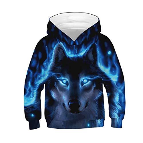Tsyllyp Unisex Fashion Sweatshirt Kids Hoodies Wolf 3D Print Pullover Clothes]()