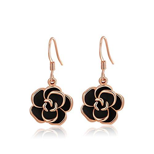 Womens Rose Gold Earrings Jewelry Stud Dangle Ear-Rings Black Roses