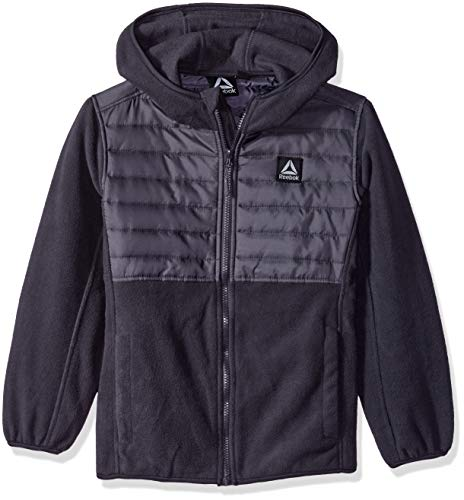 Reebok Boys' Big' Active Hooded Polar Fleece Jacket, Charcoal, 10/12 (Best Polar Fleece Jacket)