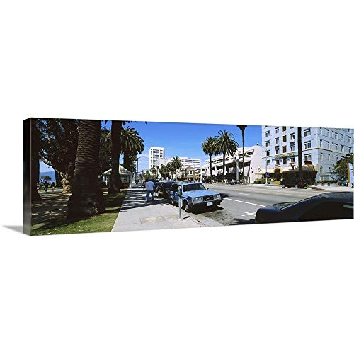 GREATBIGCANVAS Gallery-Wrapped Canvas Entitled Cars Parked on The Roadside, Santa Monica, California by ()