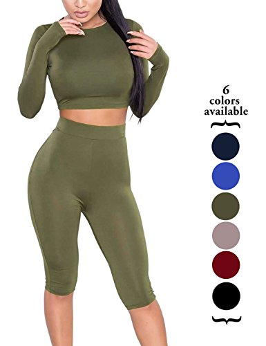 Amilia Womens Sexy Long Sleeve Crop Tops High Waist Leggings 2 Piece...