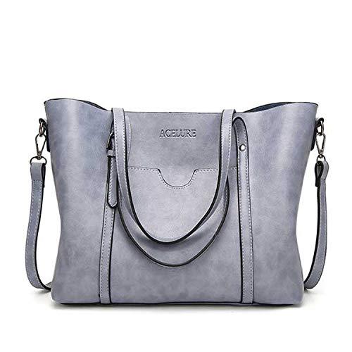 (Women bag Oil wax Women's Leather Handbags Luxury Lady Hand Bags With Purse Pocket Women messenger bag Big Tote Sac Bols,Light blue)