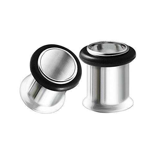 Tunnels Flare Flesh Single (BIG GAUGES Pair Surgical Steel 0g Gauge 8mm Single Flared Piercing Jewelry Earring Stretcher Plug Tunnel Lobe BG0062)