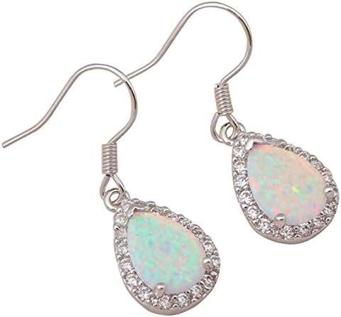 Chokushop Zirconia design Super supplier White fire opal 925 Silver Fashion Jewelry Dangle Earrings for women Fine jewelry OE299A