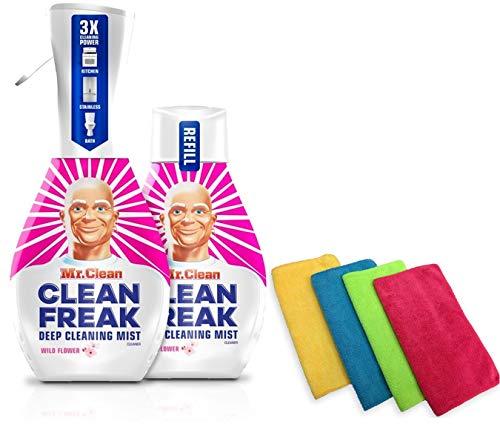 2-16oz Bottles (1 Mist Sprayer & 1 Refill) of Mr Clean Freak, Wild Flower Scented Multi-Surface Cleaner, Bundled with 4 Ondago Premium Microfiber Cleaning Cloths 13.78 X 13.78 inches