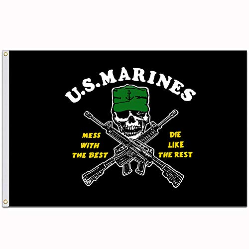 Black American USMC Flag U.S. Marines Corp Mess with The Best Die Like The Rest 3x5 Feet Polyester USA Decorative Custom Flag and Banner -