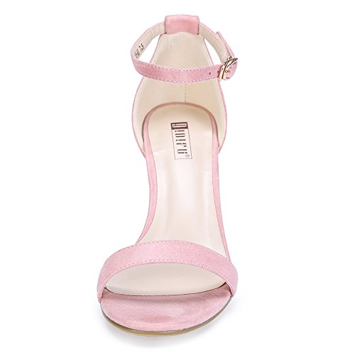 IDIFU Women's Cookie-MI Block Heels Sandals 3 Inch Chunky Open Toe Ankle Strap Wedding Dress Pump Shoes