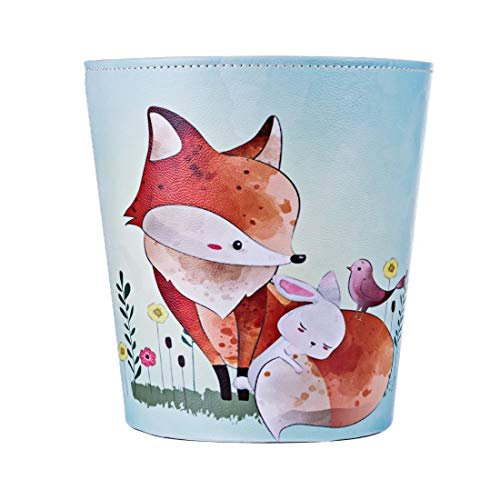 (RuiyiF Deskside Wastebasket Farmhouse Decorative Trash Can Without Lid, PU Leather Recycle Bin Bathroom Kitchen Office Bedroom Garbage Can for Kids Room Recycling and Storage (Fox))