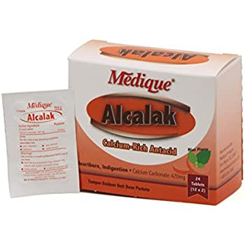 Medique Products 10164 Alcalak Antacid Tablets, 24-Pack, Chewable