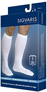 Sigvaris Women's Diabetic Compression Support Sock 18-25mmHg, SL, White