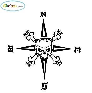 Generic Kompass Totenkopf Aufkleber 30x30cm Windrose