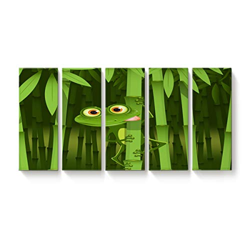 5 Panels Canvas Print Wall Art Green Frog Bamboo Camouflage Wall Decor Pictures for Living Room Modern Artwork Paintings Photographs Stretched and Framed Ready to Hang 12x32inch